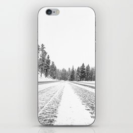 Snow Road // Snowy Winter Wonderland Black and White Landscape Photography Ski Poster iPhone Skin
