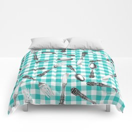 Utensils on Turquoise Picnic Blanket Comforters