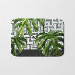 Monstera Leaves on Black Marble and Tiles Bath Mat