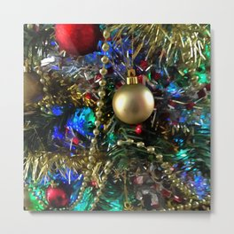 Christmas Tree Garlands And Ornaments Metal Print