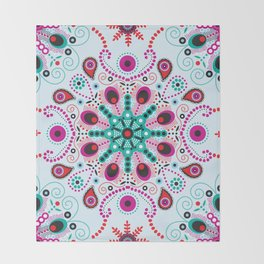 Pointillism mandala | Light blue, red and purple Throw Blanket