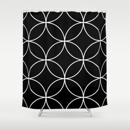 Black And White Simple Circle Design Shower Curtain