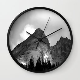 Broken Topped in Black and White Wall Clock