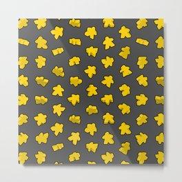 Dark Yellow Meeple Explosion Texture Metal Print