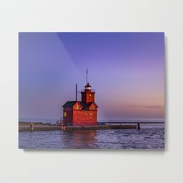 Big Red Lighthouse at Dusk - Holland Michigan Metal Print