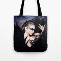 swan queen Tote Bags featuring Odile - Swan Queen  by Jay Aheer