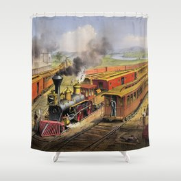 American Railroad Scene (Currier & Ives) Shower Curtain