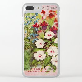 Vintage Flowers Advertisement Collage Clear iPhone Case