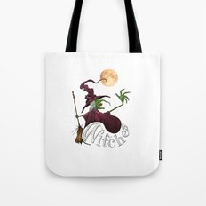 Black and White Witch Tote Bag