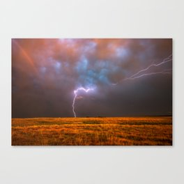 Ride the Lightning - Lightning and Rainbow Over Oklahoma Plains Canvas Print