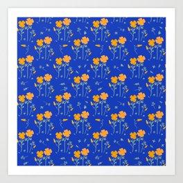 Poppy Garden-Blue Art Print