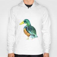 duck Hoodies featuring Duck by Frau Ottilie Illustration