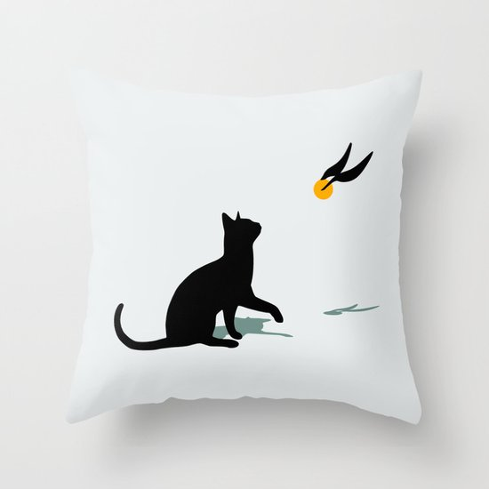 Cat and Snitch Throw Pillow