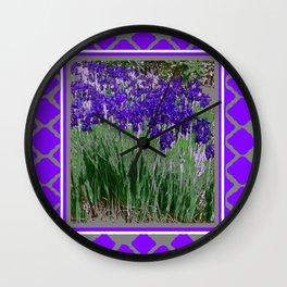 DARK PURPLE IRIS GARDEN  ART. Wall Clock