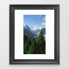 Lauterbrunnen Valley below and Breithorn above Framed Art Print
