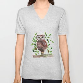 Owl with avocado illustration Unisex V-Neck