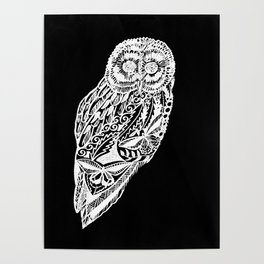 black and white prints of owls Poster