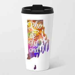 Rhode Island US State in watercolor text cut out Travel Mug