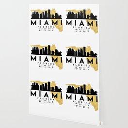 MIAMI FLORIDA SILHOUETTE SKYLINE MAP ART Wallpaper