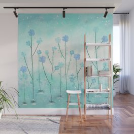 Turquoise Field of Flowers Wall Mural