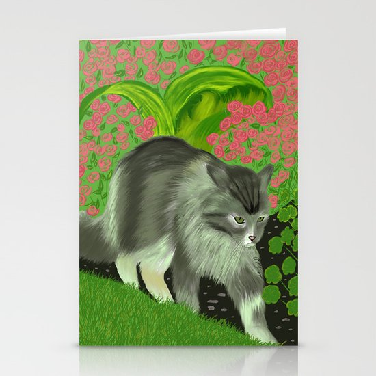 Cat In The Garden Stationery Cards