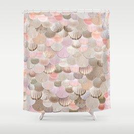 MERMAID SHELLS - CORAL ROSEGOLD Shower Curtain