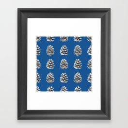 Monochrome Pine Cones Winter Blue Framed Art Print
