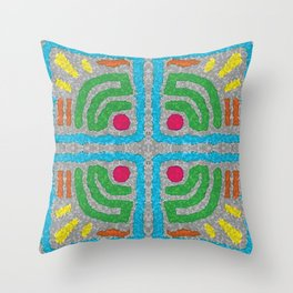 Square Stamp Multi Blue Throw Pillow