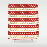 reindeer Shower Curtains featuring Reindeer by Laura Maria Designs