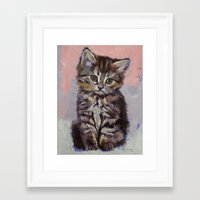 kitten Framed Art Prints featuring Kitten by Michael Creese