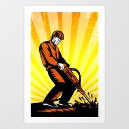 Construction Worker Jackhammer Retro Poster Art Print