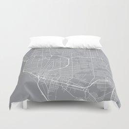 Buffalo Map, New York USA - Pewter Duvet Cover