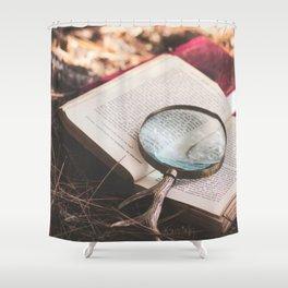 learn + explore. Shower Curtain