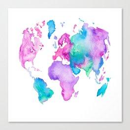 Modern world map globe bright watercolor paint Canvas Print