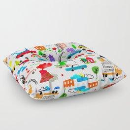 Dinosaur City Watercolor Transportation Pattern Floor Pillow