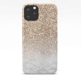 Sparkle - Gold Glitter and Marble iPhone Case