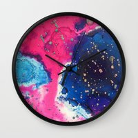 mars Wall Clocks featuring Mars by Heather Plewes Art