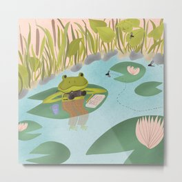 Evening Fly Watching / Friendly Frog at the Pond Metal Print