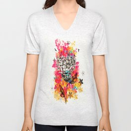 Abstract flower's face, colors Unisex V-Neck