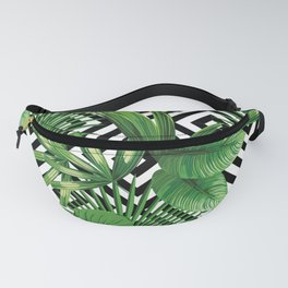 Vintage summer exotic jungle plant, tropical palm leaves. Floral vector on the black and white geometric background. Nature illustration pattern. Fanny Pack