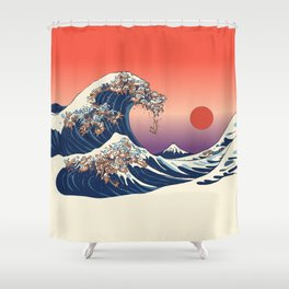The Great Wave of Dachshunds Shower Curtain