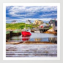 Peggy's Cove Village in perspective - Nova Scotia Art Print