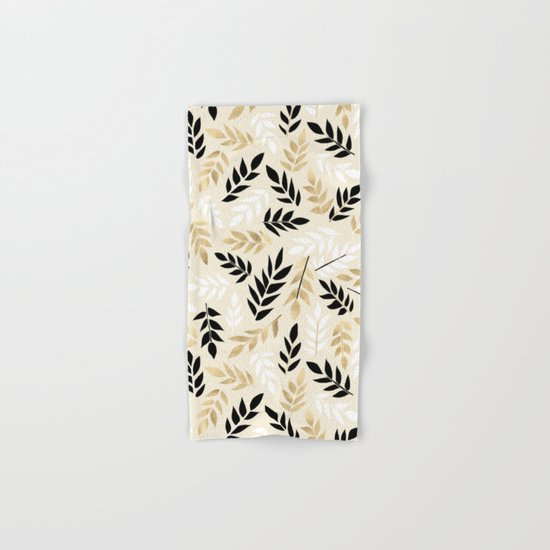 Black, White & Gold Fronds Hand & Bath Towel