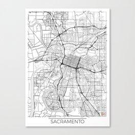 Sacramento Map White Canvas Print