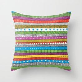 bright doodle stripes Throw Pillow