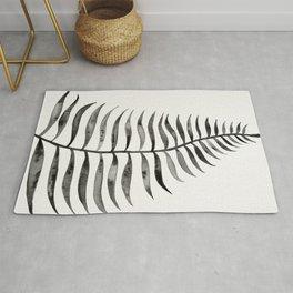 Black Palm Leaf Rug
