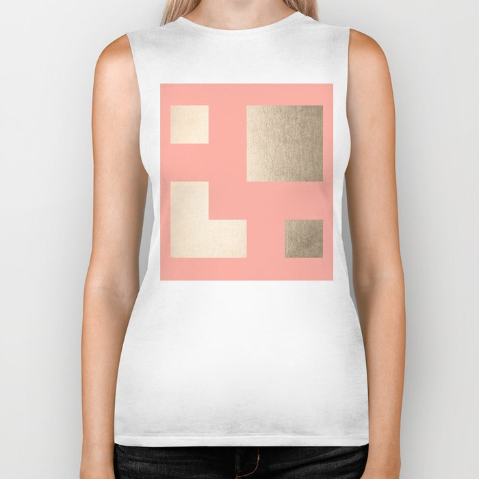 Simply Geometric White Gold Sands on Salmon Pink Biker Tank