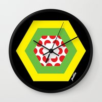 tour de france Wall Clocks featuring Tour de France Jerseys by Pedlin