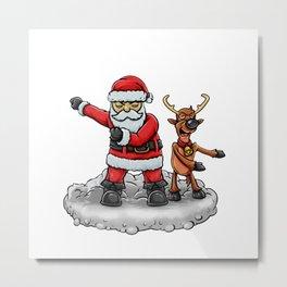 Santa and Reindeer flossing Metal Print