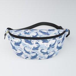 Koi Fish Dance / blue watercolor Fanny Pack